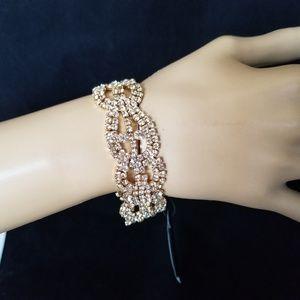 "Prom Wedding Gold Rhinestone Evening Bracelet 7"""